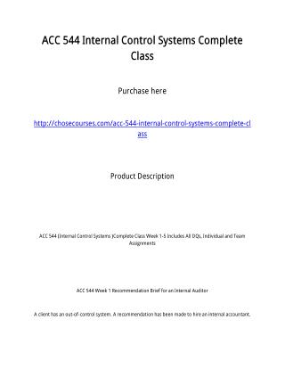 ACC 544 Internal Control Systems Complete Class