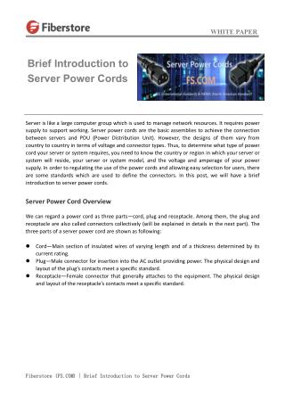 Brief introduction to server power cords