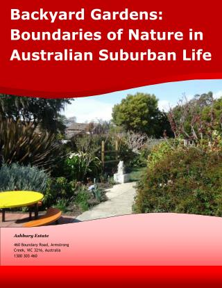 Backyard Gardens: Boundaries of Nature in Australian Suburban Life