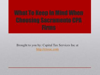 What To Keep In Mind When Choosing Sacramento CPA Firms
