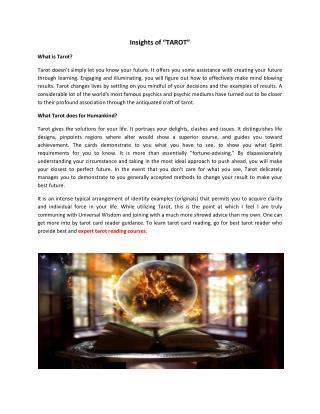 Insights of Tarot Reading Courses - Tarot Card Reader