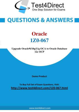 Oracle 1Z0-067 Database 12c Real Exam Questions