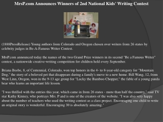 MrsP.com Announces Winners of 2nd National Kids' Writing Con