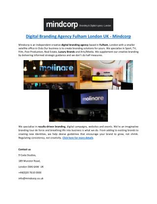 Digital Branding Agency Fulham London UK - Mindcorp
