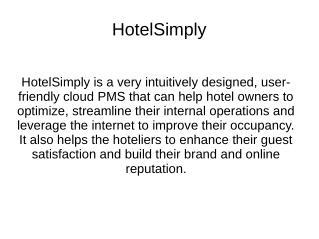 Hotel management software-hotelsimply.com