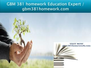 GBM 381 homework Education Expert / gbm381homework.com