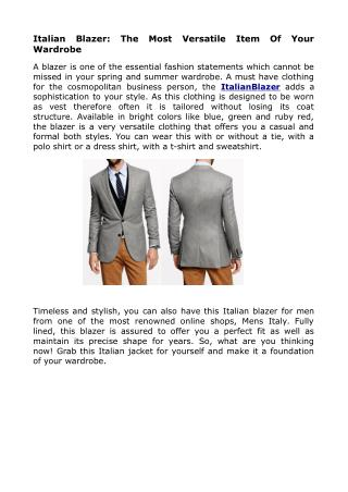 The Italian Blazer And SportCoat For Men