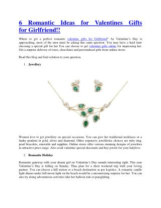 6 Romantic Ideas for Valentines Gifts for Girlfriend!!