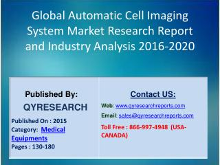 Global Automatic Cell Imaging System Market 2016 Industry Research, Analysis, Study, Insights, Outlook, Forecasts and Gr