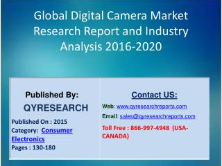 Global Digital Camera Market 2016 Industry Insights, Study, Forecasts, Outlook, Development, Growth, Overview and Demand