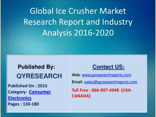 Global Ice Crusher Market 2016 Industry Study, Trends, Development, Growth, Overview, Insights and Outlook
