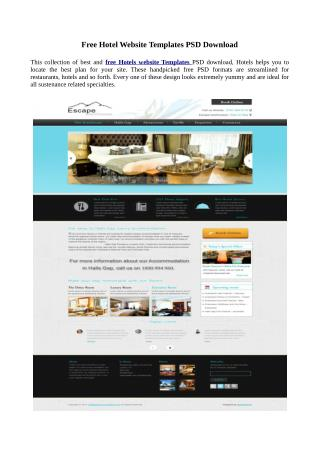 Free website templates PSD download for hotel