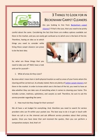 3 Things To Look For In Beckenham Carpet Cleaners