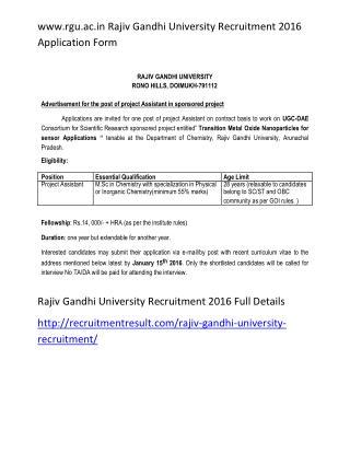 www.rgu.ac.in Rajiv Gandhi University Recruitment 2016 Application Form