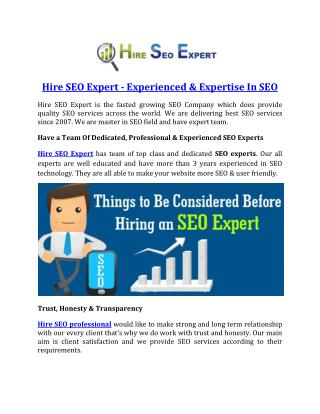 Hire SEO Expert - Experienced & Expertise In SEO