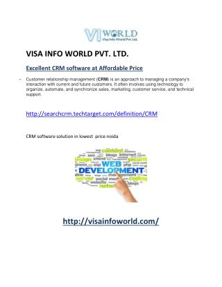 CRM software solution(9899756694)at lowest  price noida-visainfoworld.com