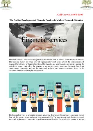 The Positive Development of Financial Services in Modern Economic Situation