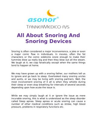 All About Snoring And Snoring Devices