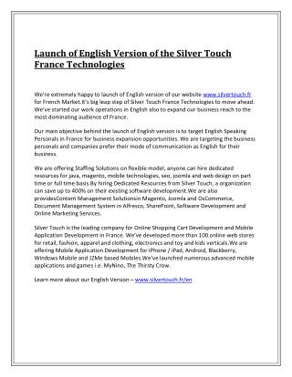 Launch of English Version of the Silver Touch France Technologies