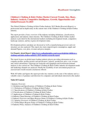 Children's Clothing & Kids Clothes Market Key Trends, Vendor Strategies, Industry Analysis And Forecast 2015