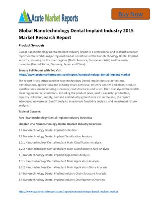 Global Nanotechnology Dental Implant Trends, Growth and Forecast upto By Acute Market Reports