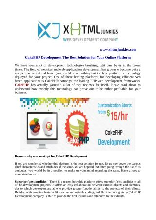 CakePHP Development The Best Solution for Your Online Platform