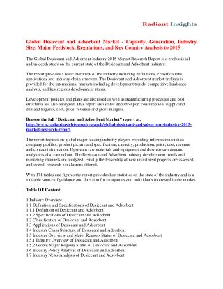Desiccant and Adsorbent Market Share, Development, Growth To 2015