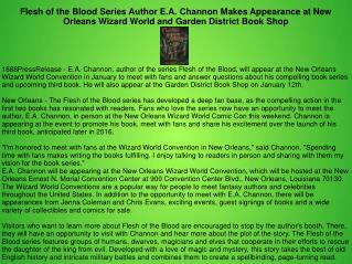 Flesh of the Blood Series Author E.A. Channon Makes Appearance at New Orleans Wizard World and Garden District Book Shop