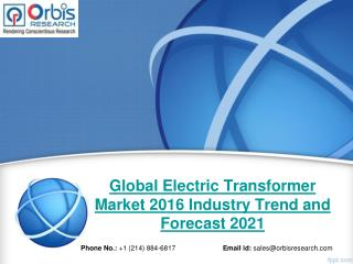 2016 Global Electric Transformer Market Trends Survey & Opportunities Report