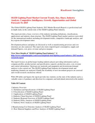 OLED Lighting Panel Market to 2015: Drivers, Trends & Growth Analysis By Radiant Insights
