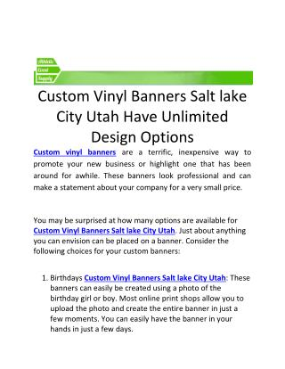 Custom Vinyl Banners Salt lake City Utah