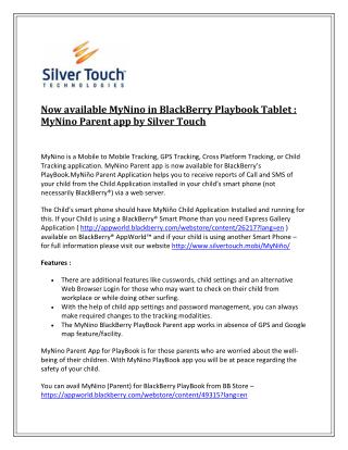 Now available MyNino in BlackBerry Playbook Tablet : MyNino Parent app by Silver Touch