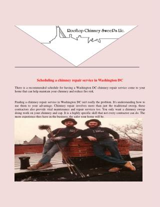Scheduling A Chimney Repair Service IN Washington DC