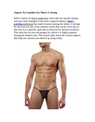 Aspects To Consider For Men's G-String