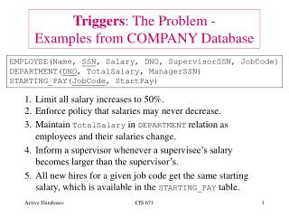 Triggers: The Problem - Examples from COMPANY Database
