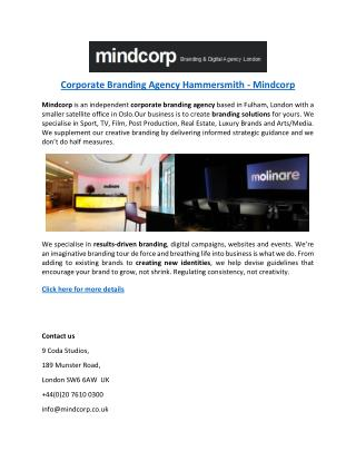 Corporate Branding Agency Hammersmith - Mindcorp