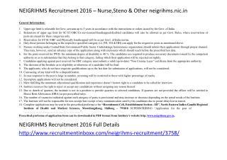 NEIGRIHMS Recruitment 2016 – Nurse,Steno & Other Neigrihms.nic.In