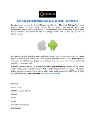 IOS App Development Company London - Sowedane