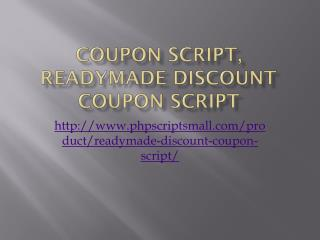 Coupon Script, Readymade Discount Coupon Script