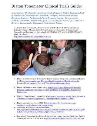 Diaton Tonometer Clinical Trials Guide