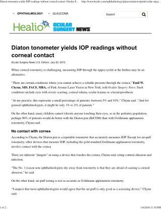 Diaton tonometer yields IOP readings without corneal contact