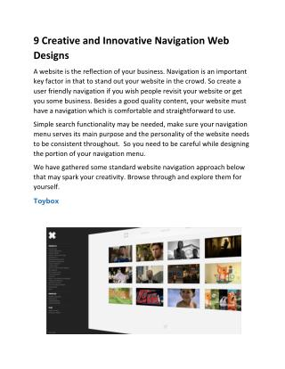 9 Creative and Innovative Navigation Web Designs