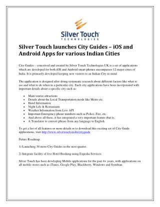 Silver Touch launches City Guides – iOS and Android Apps for various Indian Cities