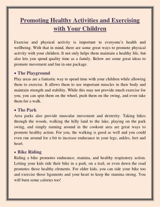 Promoting Healthy Activities and Exercising with Your Children