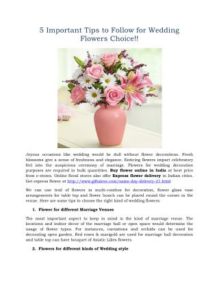 5 Important Tips to Follow for Wedding Flowers Choice!!