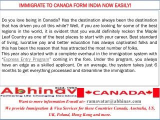 Immigrate to Canada form India Now easily!