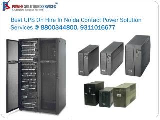 Best UPS On Hire In Noida Contact Power Solution Services