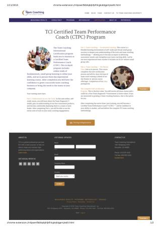 Certified Team Performance Coach Program