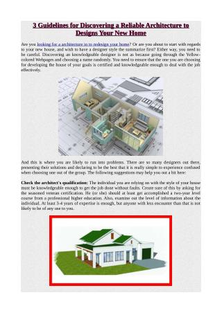 3 Guidelines for Discovering a Reliable Architecture to Designs Your New Home