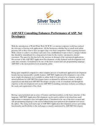 ASP.NET Consulting Enhances Performance of ASP. Net Developers